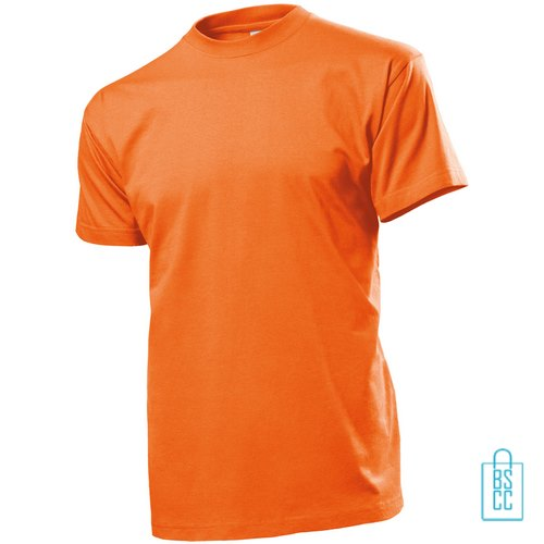 T-Shirt Heren Ronde Hals bedrukken oranje