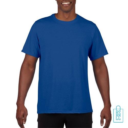 T-Shirt Heren Sport Lang bedrukken blauw