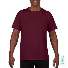 T-Shirt Heren Sport Lang bedrukken bordeaux