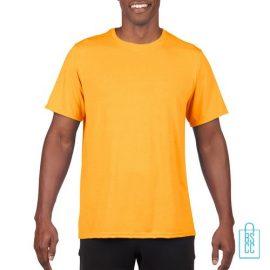 T-Shirt Heren Sport Lang bedrukken geel
