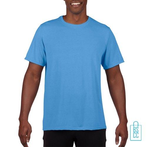 T-Shirt Heren Sport Lang bedrukken lichtblauw