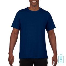 T-Shirt Heren Sport Lang bedrukken navy