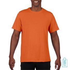 T-Shirt Heren Sport Lang bedrukken oranje