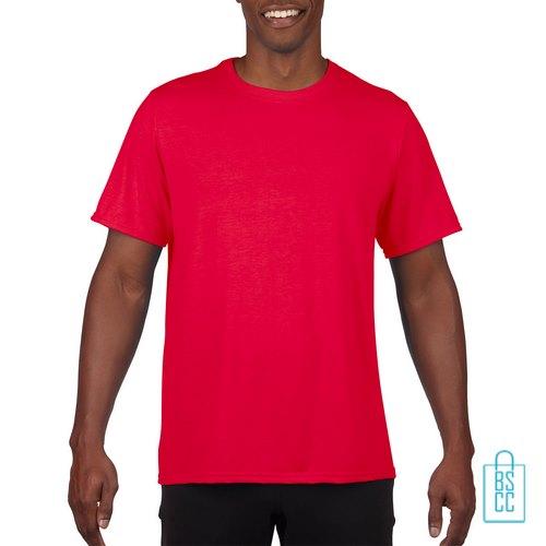 T-Shirt Heren Sport Lang bedrukken rood