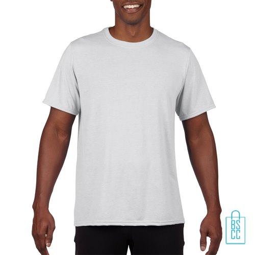 T-Shirt Heren Sport Lang bedrukken wit