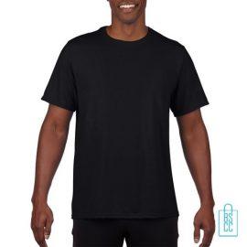 T-Shirt Heren Sport Lang bedrukken zwart