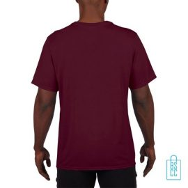T-Shirt Heren Sport Lang bedrukt bordeaux