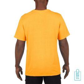 T-Shirt Heren Sport Lang bedrukt geel