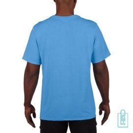 T-Shirt Heren Sport Lang bedrukt lichtblauw