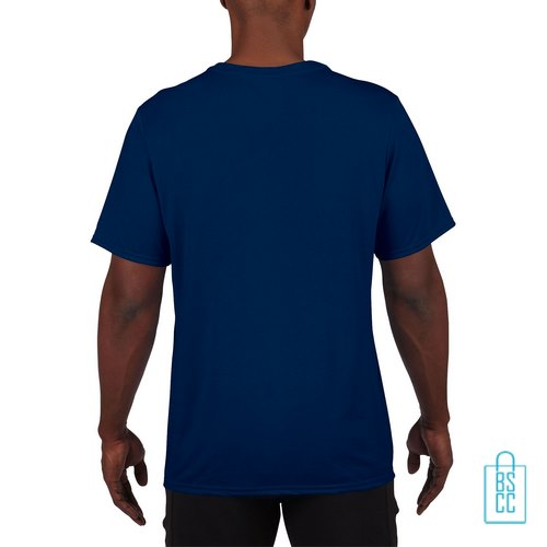 T-Shirt Heren Sport Lang bedrukt navy