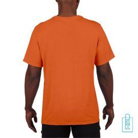 T-Shirt Heren Sport Lang bedrukt oranje