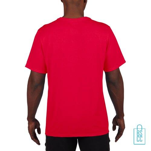 T-Shirt Heren Sport Lang bedrukt rood