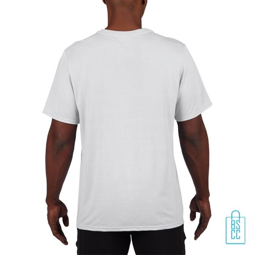 T-Shirt Heren Sport Lang bedrukt wit
