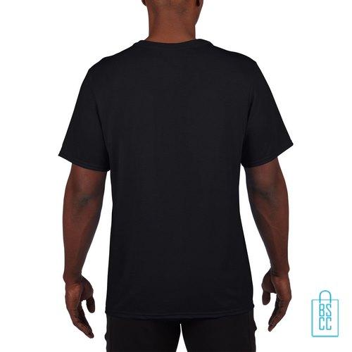 T-Shirt Heren Sport Lang bedrukt zwart