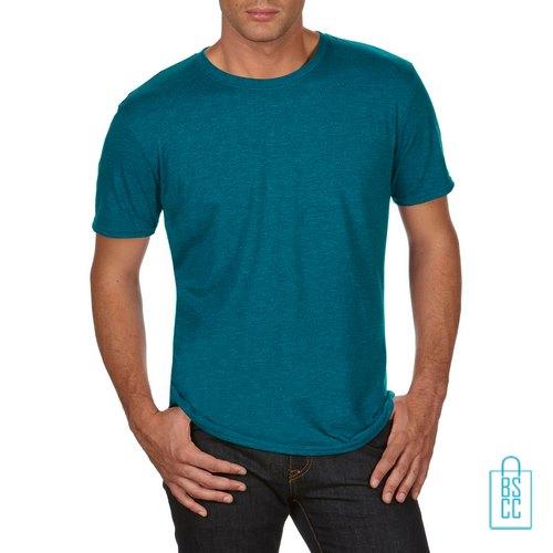 T-Shirt Heren Trendy bedrukken blauwgroen