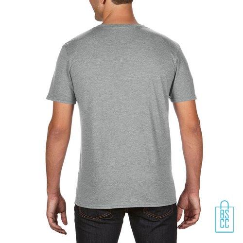 T-Shirt Heren Trendy bedrukt lichtgrijs