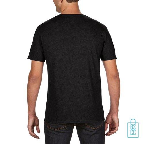 T-Shirt Heren Trendy bedrukt zwart