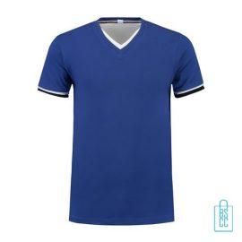 T-Shirt Heren V-Hals Biesje bedrukken blauw, v-hals bedrukt, bedrukte v-hals met logo