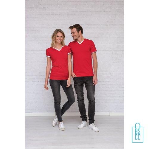 T-Shirt Heren V-Hals Biesje bedrukken goedkoop, v-hals bedrukt, bedrukte v-hals met logo