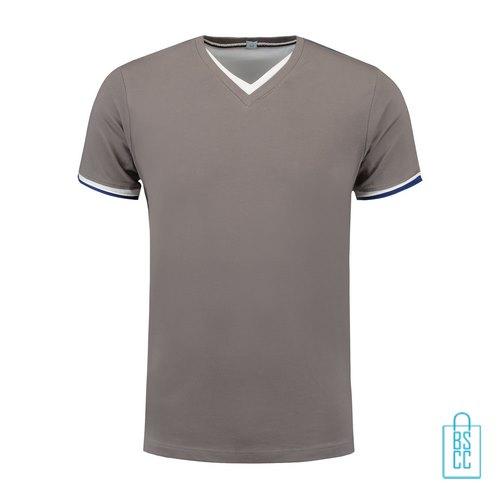 T-Shirt Heren V-Hals Biesje bedrukken grijs, v-hals bedrukt, bedrukte v-hals met logo