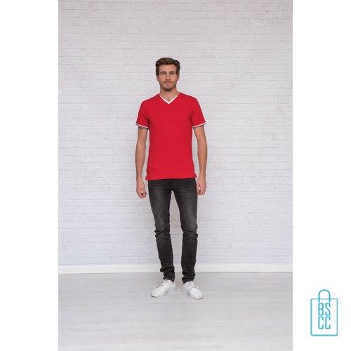 T-Shirt Heren V-Hals Biesje bedrukken met logo, v-hals bedrukt, bedrukte v-hals met logo