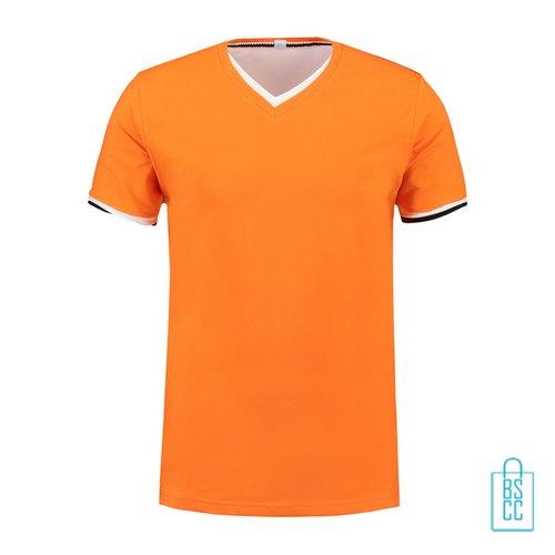 T-Shirt Heren V-Hals Biesje bedrukken oranje, v-hals bedrukt, bedrukte v-hals met logo