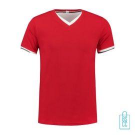 T-Shirt Heren V-Hals Biesje bedrukken rood, v-hals bedrukt, bedrukte v-hals met logo