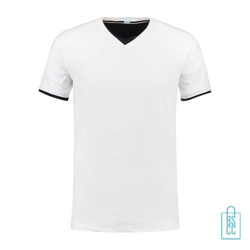 T-Shirt Heren V-Hals Biesje bedrukken wit, v-hals bedrukt, bedrukte v-hals met logo