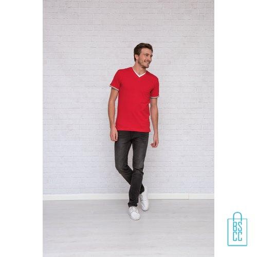 T-Shirt Heren V-Hals Biesje bedrukt, v-hals bedrukt, bedrukte v-hals met logo