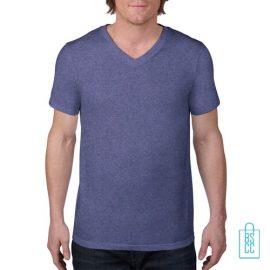 T-Shirt Heren V-Hals Casual bedrukken blauw, v-hals bedrukt, bedrukte v-hals met logo