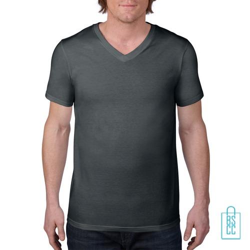 T-Shirt Heren V-Hals Casual bedrukken grijs, v-hals bedrukt, bedrukte v-hals met logo