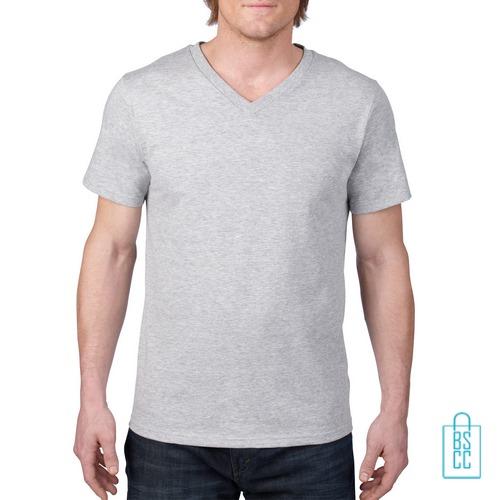 T-Shirt Heren V-Hals Casual bedrukken lichtgrijs, v-hals bedrukt, bedrukte v-hals met logo