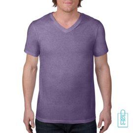 T-Shirt Heren V-Hals Casual bedrukken lila, v-hals bedrukt, bedrukte v-hals met logo