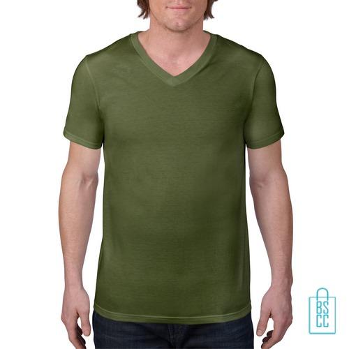 T-Shirt Heren V-Hals Casual bedrukken miilitairgroen, v-hals bedrukt, bedrukte v-hals met logo