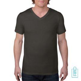 T-Shirt Heren V-Hals Casual bedrukken mosgroen, v-hals bedrukt, bedrukte v-hals met logo