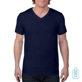 T-Shirt Heren V-Hals Casual bedrukken navy, v-hals bedrukt, bedrukte v-hals met logo