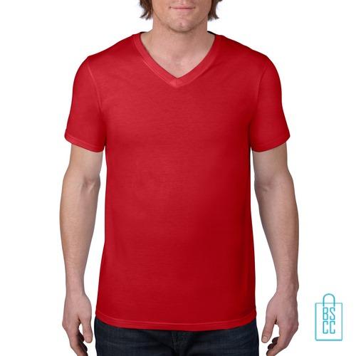 T-Shirt Heren V-Hals Casual bedrukken rood, v-hals bedrukt, bedrukte v-hals met logo