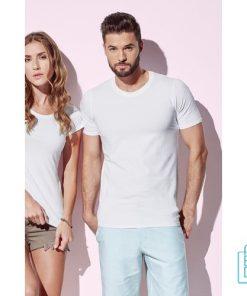 T-Shirt Heren V-Hals Katoen bedrukt, v-hals bedrukt, bedrukte v-hals met logo