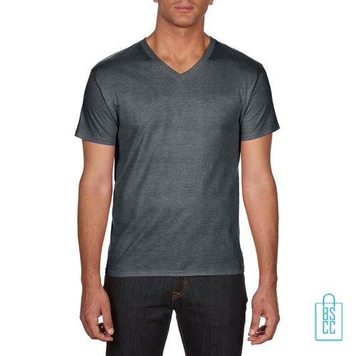 T-Shirt Heren V-hals Goedkoop bedrukken grijs, v-hals bedrukt, bedrukte v-hals met logo