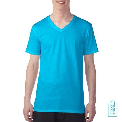 T-Shirt Heren V-hals Goedkoop bedrukken lichtblauw, v-hals bedrukt, bedrukte v-hals met logo