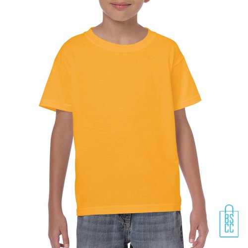 T-Shirt Kind Color Bedrukken okergeel