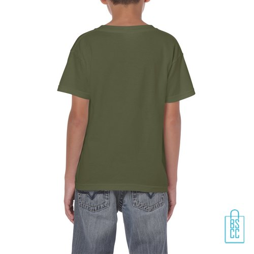 T-Shirt Kind Color Bedrukt militairgroen
