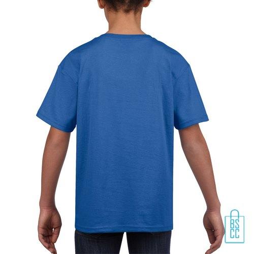 T-Shirt Kind Uni bedrukt blauw