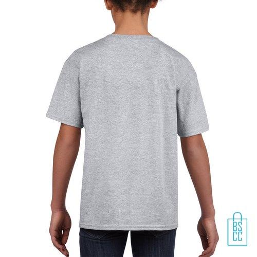 T-Shirt Kind Uni bedrukt lichtgrijs