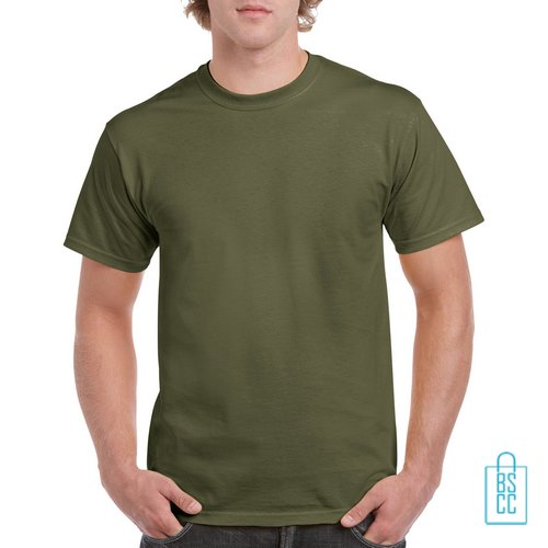 T-Shirt Mannen Budget bedrukken militairgroen