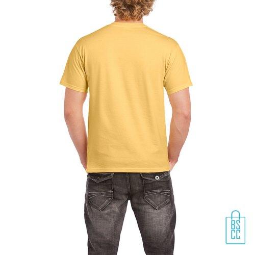 T-Shirt Mannen Budget bedrukt zachtgeel