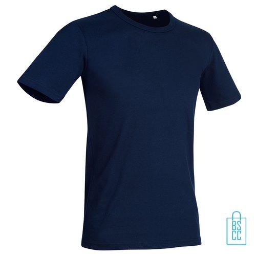 T-Shirt Mannen Soft Jersey bedrukken donkerblauw