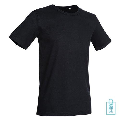 T-Shirt Mannen Soft Jersey bedrukken zwart