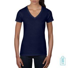 T-Shirt dames V-Hals casual bedrukken blauw, v-hals bedrukt, bedrukte v-hals met logo