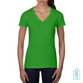 T-Shirt dames V-Hals casual bedrukken groen, v-hals bedrukt, bedrukte v-hals met logo